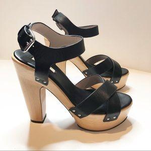 Zara Woman Wooden Strappy Black Platform Heels 38